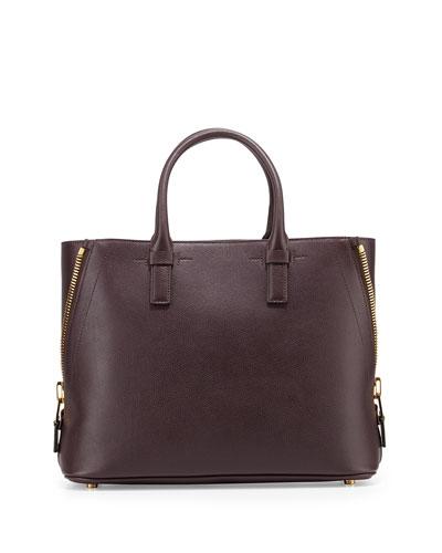 Jennifer Medium Calf Leather Tote Bag, Red