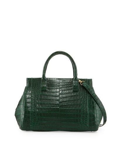 Loop Crocodile Medium Satchel Bag, Green