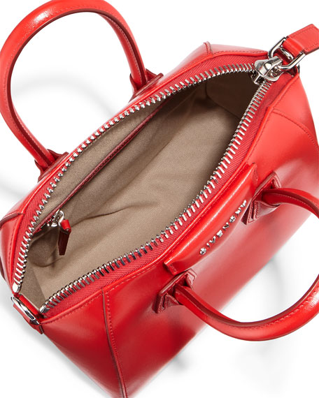 Antigona Mini Calf Leather Satchel Bag, Red