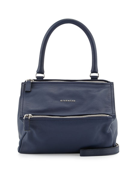 Pandora Sugar Small Leather Satchel Bag, Deep Blue