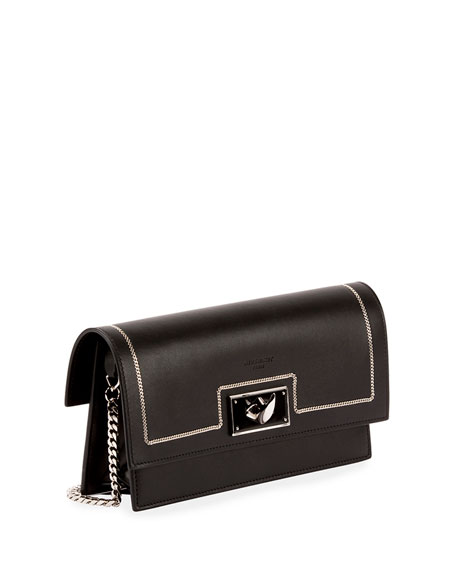 Shark Chain-Detail Large Clutch Bag, Black
