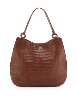 Crocodile Medium Double-Strap Hobo Bag, Kango Matte