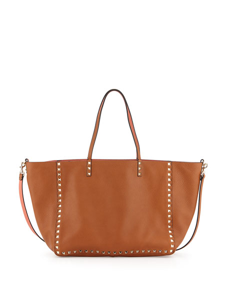 2697029337 Valentino Rockstud Medium Reversible Tote Bag, Tan/Coral