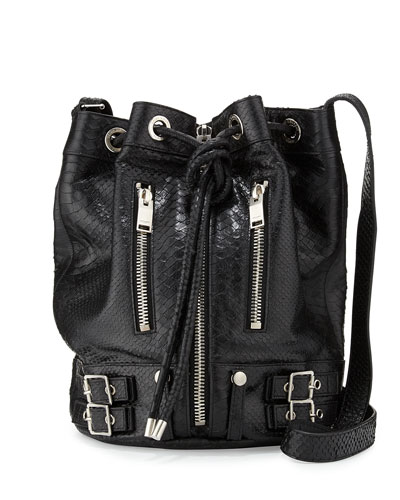 Rider Medium Python-Print Bucket Bag, Black