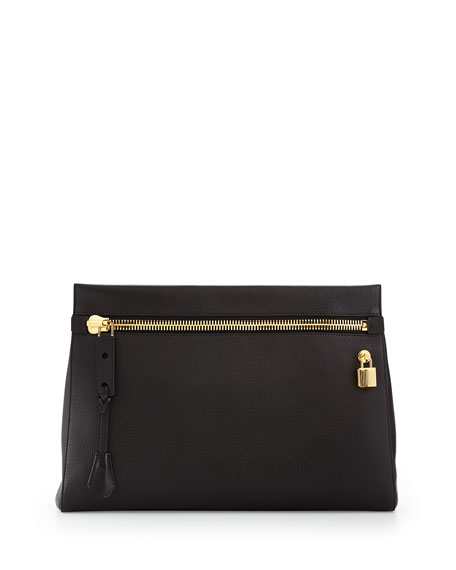 Alix Small Zip & Padlock Clutch Bag, Black