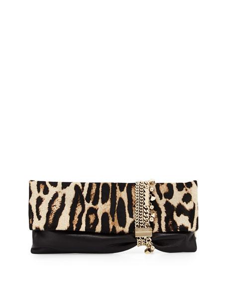 c2366a1a9332 Jimmy Choo Chandra Leopard-Print Half Calf Hair Charm Clutch Bag