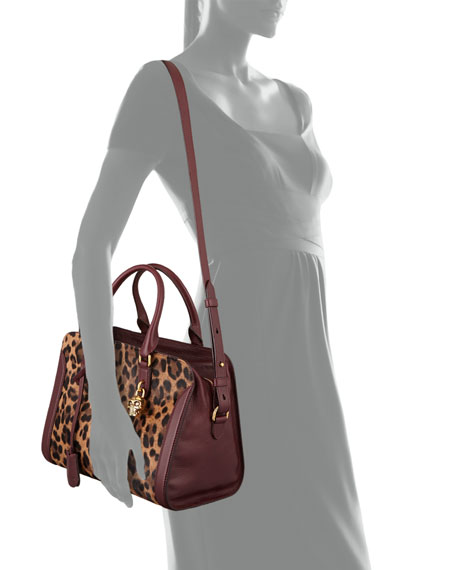 Small Pony Hair Padlock Satchel Bag, Leopard