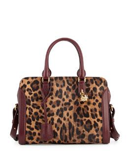 Small Pony Hair Padlock Satchel Bag, Leopard