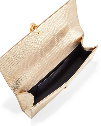 yves saint laurent bag - monogram metallic tassel clutch bag, silver