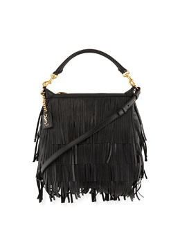 Emmanuelle Small Leather Fringe Hobo Bag, Black