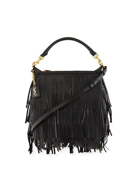 0f0b3be807 Saint Laurent Emmanuelle Small Leather Fringe Hobo Bag, Black