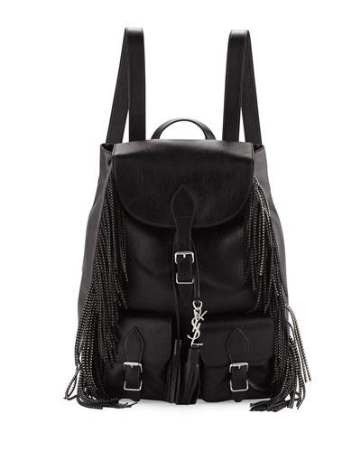 Vitello Calfskin Studded Fringe Backpack, Black