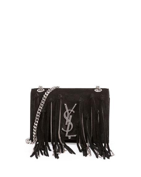 db46d288290e Saint Laurent Monogram Small Suede Shoulder Bag w Chain Fringe