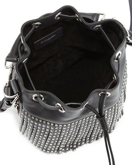 0aabf65855 Saint Laurent Emmanuel Small Studded Fringe Bucket Bag