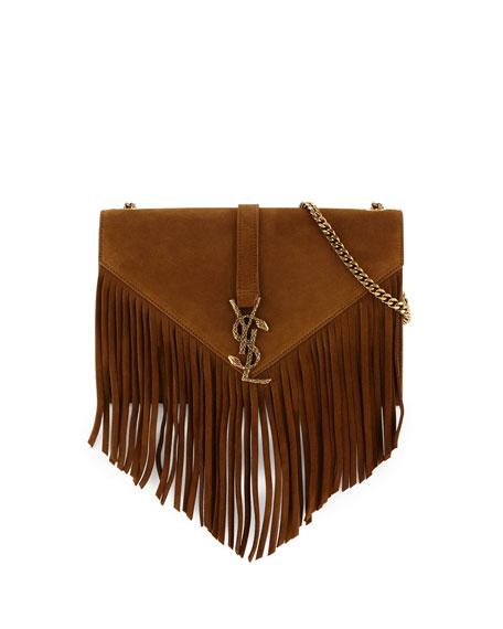 9ea4a255b9f0 Saint Laurent Monogram Medium Suede Fringe Crossbody Bag