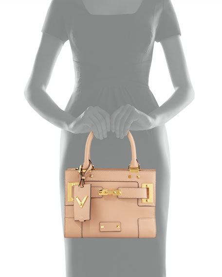 My Rockstud Mini Top-Handle Tote Bag, Taupe