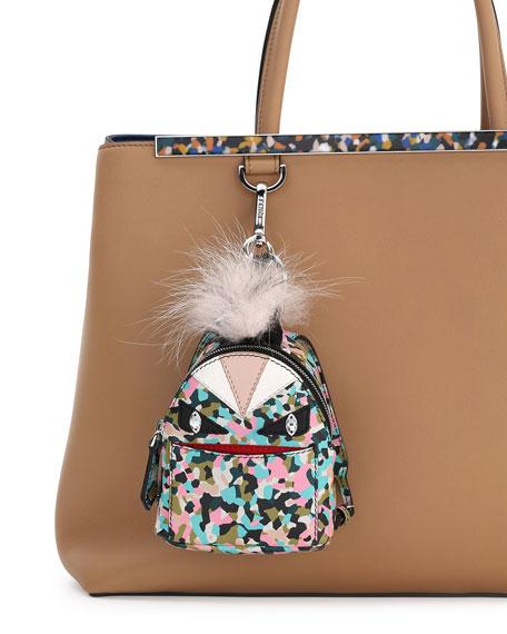 Monster Granite-Print Leather Backpack Charm for Handbag, Multi