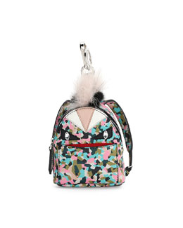 Monster Granite-Print Leather Backpack Charm for Handbag, Multi