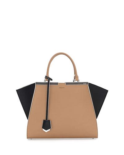 Trois-Jour Petite Bicolor Tote Bag, Tan/Black