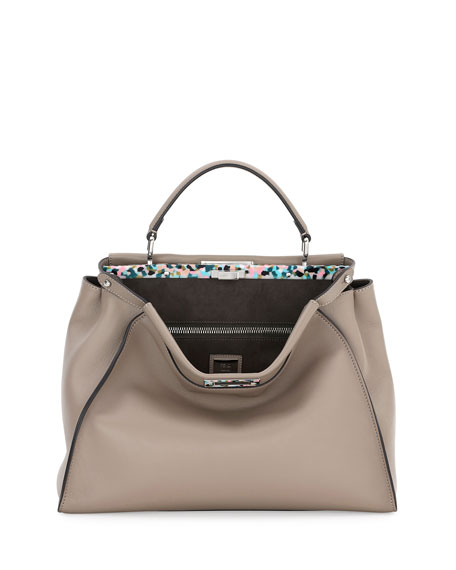 Peekaboo Large Granite Plexi Satchel Bag, Dove Multi