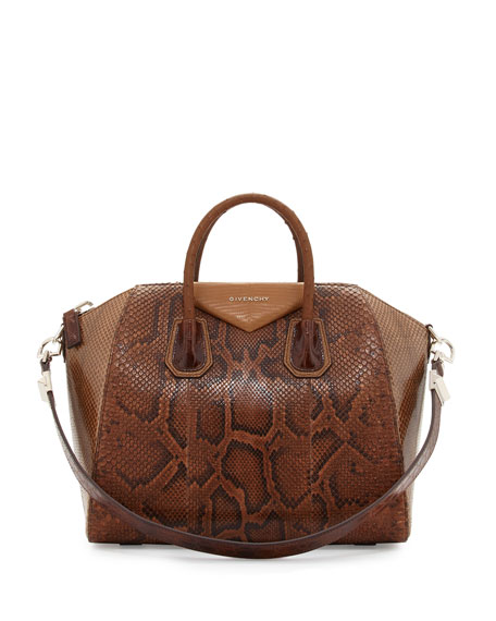 Givenchy Antigona Mixed-Exotic Satchel Bag, Light Brown Multi