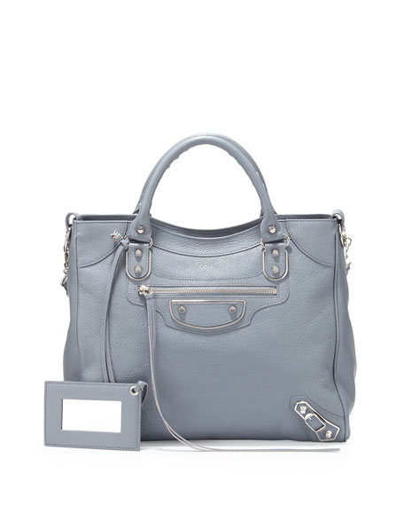 Metallic Edge Nickel Classic Velo AJ Bag, Ice Blue