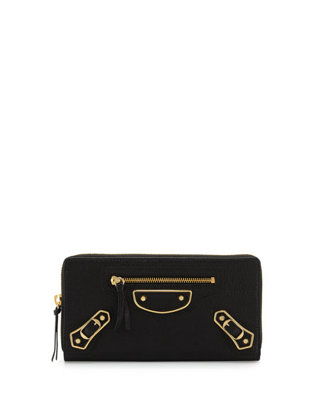 Metallic Edge Zip-Around Wallet, Black