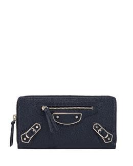 Metallic Edge Zip-Around Wallet, Royal Blue