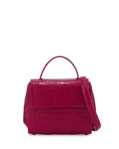 Kelly Small Crocodile Frame Bag, Pink Matte