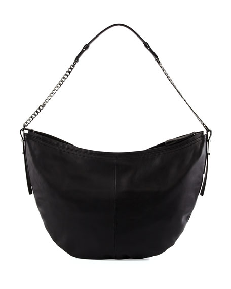 Leather Hobo Bag, Black
