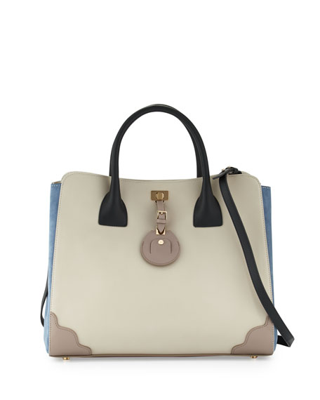 Jourdan Leather Tote Bag, Plaster