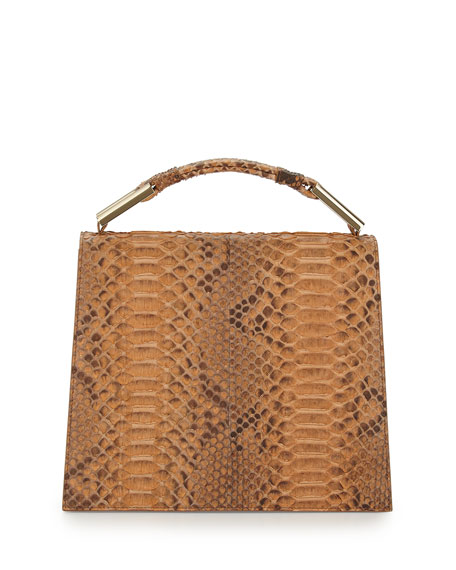 Charlotte Origami Python & Leather Handbag, Luggage