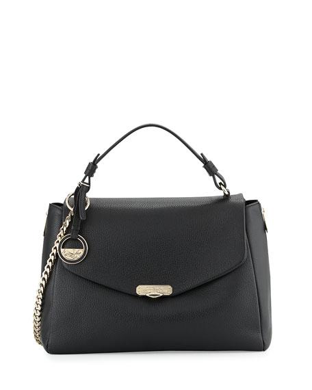 603b8751bcd Versace Pebbled Leather Satchel Bag, Black