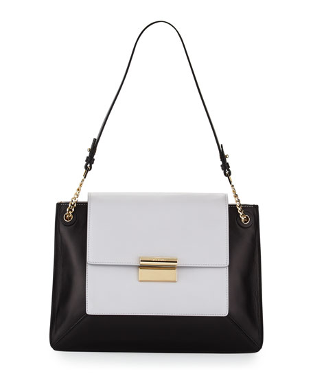 Christy Two-Tone Leather Shoulder Bag, Plexi
