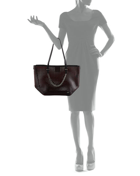 51079839a7 Halston Heritage Perforated Leather Tote Bag