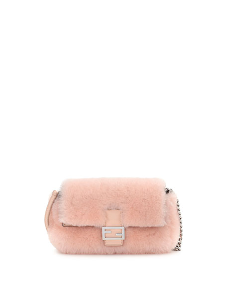 e2f8e23d24 Fendi Baguette Micro Shearling Fur Shoulder Bag, Light Pink