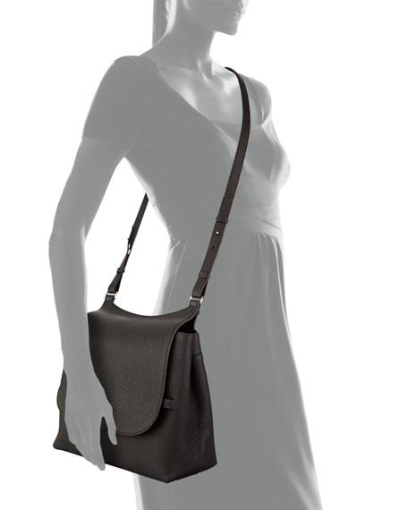 Sideby Pebbled Calfskin Crossbody Bag, Black