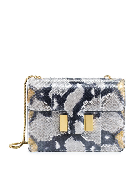 Sienna Medium Python Shoulder Bag, Gold/Multi