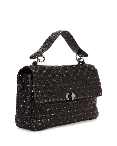 Rockstud Spike Large Chain Bag, Black