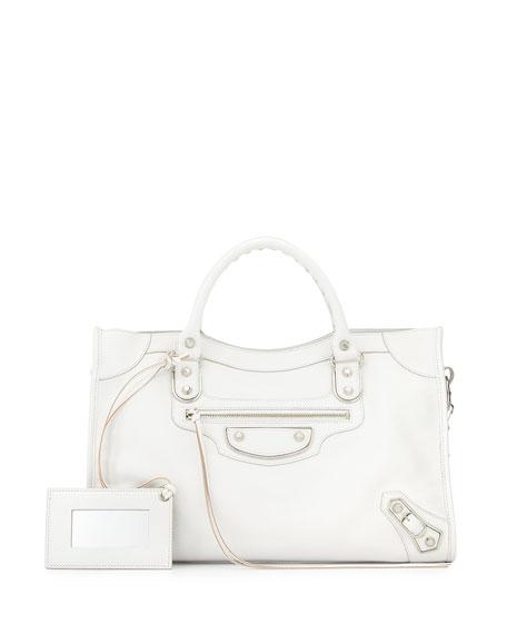 Metallic Edge City Bag, White