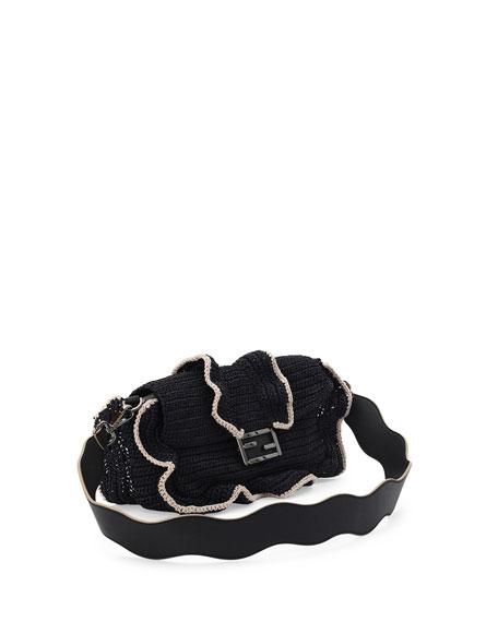 Baguette Waves Shoulder Bag, Black/White