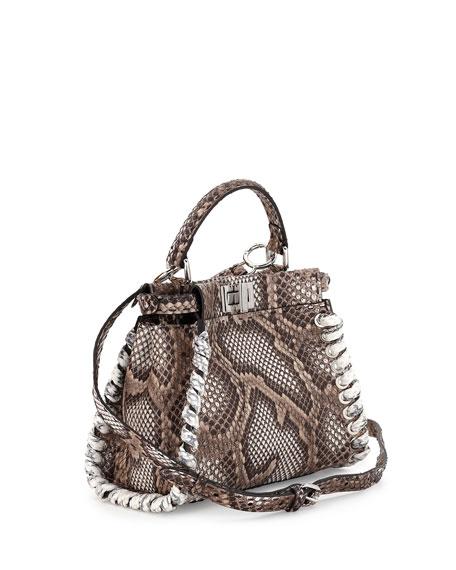 Peekaboo Small Whipstitch Satchel Bag, Multi