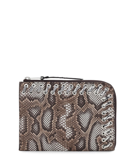 Flat Python Whipstitch Clutch Bag, Brown