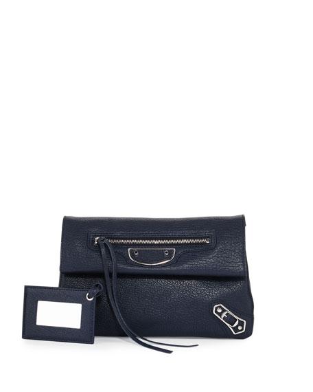 Metallic Edge Mini Clutch Bag, Blue
