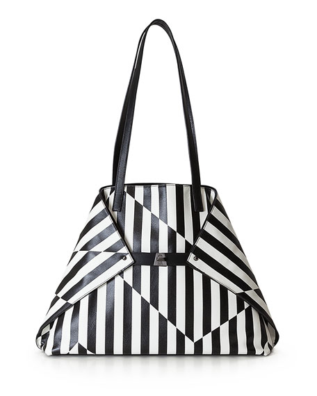 Ai Striped Leather Top-Handle Bag, Black/White