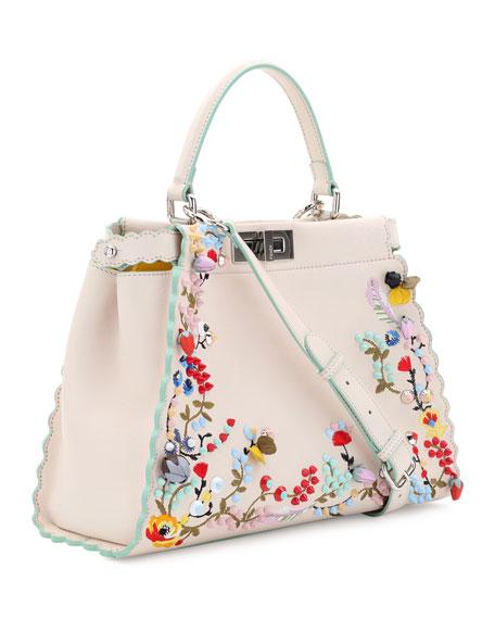 cf6b3766fc Fendi Peekaboo Large Floral-Embroidered Satchel Bag