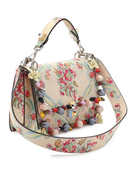 Kan I Floral Leather Shoulder Bag, Cream