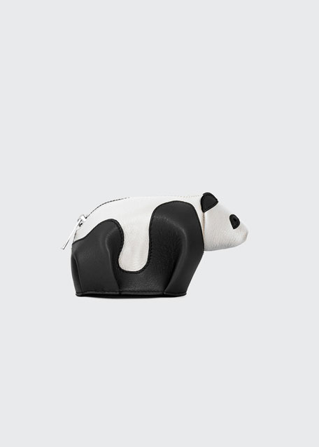 Leather Panda Coin Purse, Black/Milk