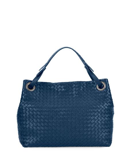 Medium Intrecciato Shoulder Bag, Cobalt Blue