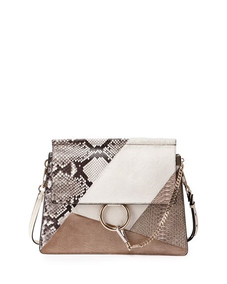 7a085854a96 Chloe Faye Medium Python/Calf-Hair Patchwork Shoulder Bag